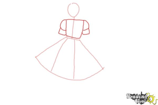 How to Draw a Girl In a Dress Easy - Step 3