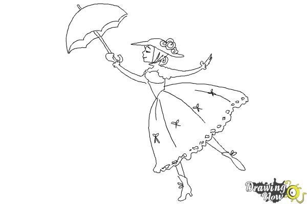 How To Draw Mary Poppins Drawingnow