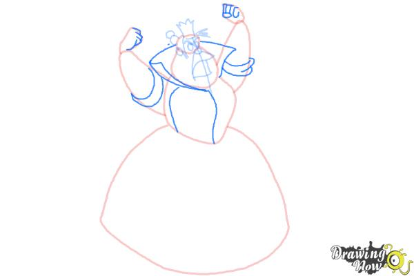 How to Draw Queen Of Hearts, Disney Villain - Step 6