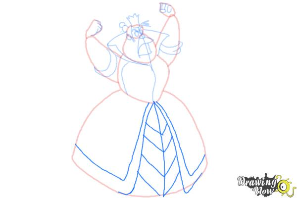 How to Draw Queen Of Hearts, Disney Villain - Step 7
