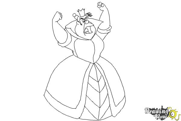 How to Draw Queen Of Hearts, Disney Villain - Step 8
