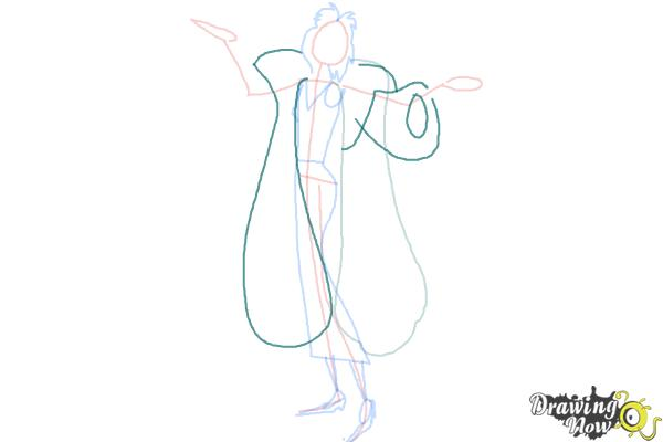 How to Draw Cruella De Vil, Disney Villain - Step 5