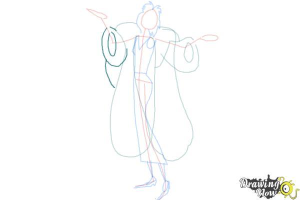 How to Draw Cruella De Vil, Disney Villain - Step 6