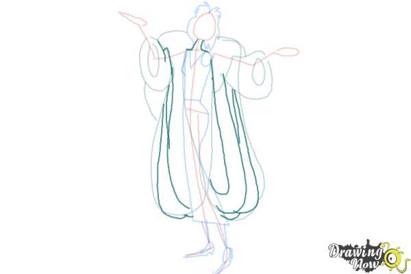 How to Draw Cruella De Vil, Disney Villain - Step 7