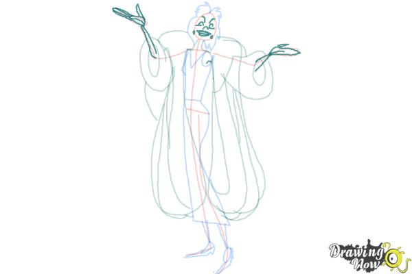 How to Draw Cruella De Vil, Disney Villain - Step 8