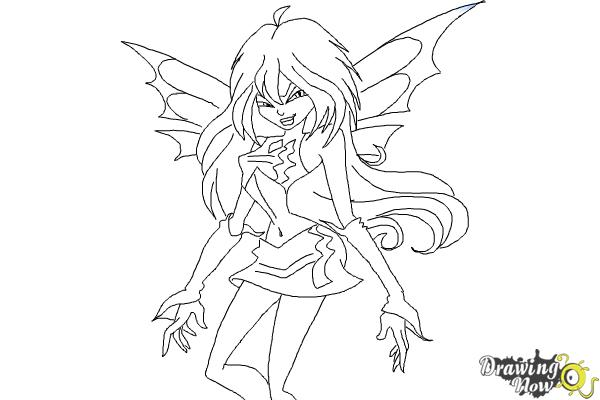 How to Draw Dark Bloom from Winx - Step 10
