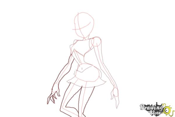 How to Draw Dark Bloom from Winx - Step 6