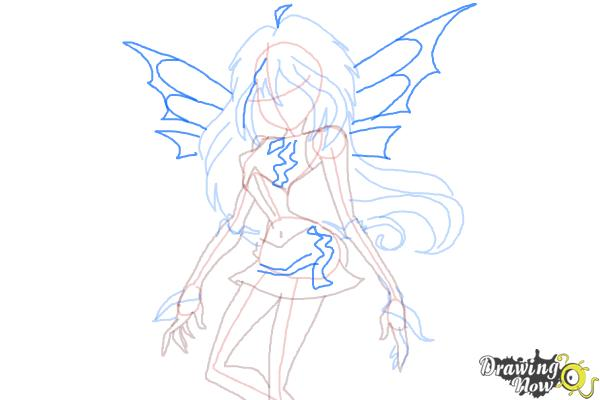 How to Draw Dark Bloom from Winx - Step 8