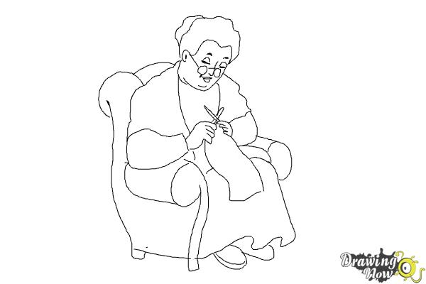 How to Draw a Grandmother - Step 10