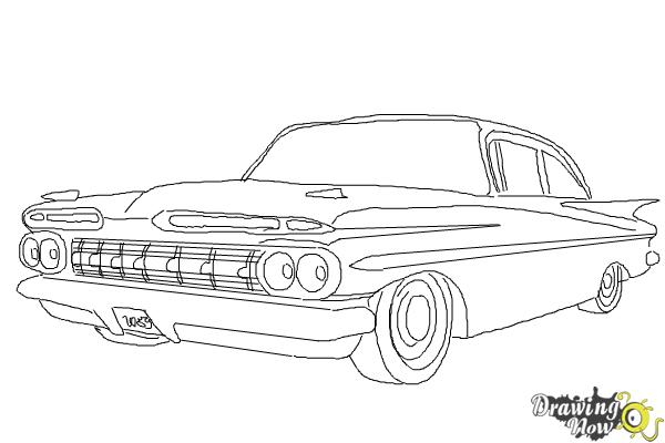 How to Draw a Chevrolet Impala - Step 8