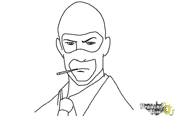 How to Draw The Spy from Team Fortress 2 - Step 9