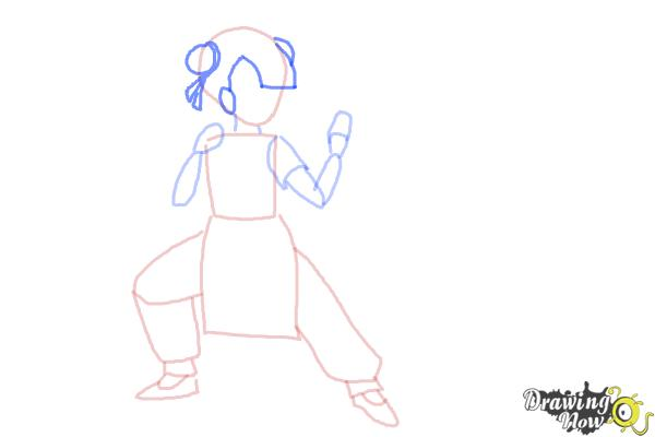 How to Draw a Manga Girl Fighting Pose - Step 4