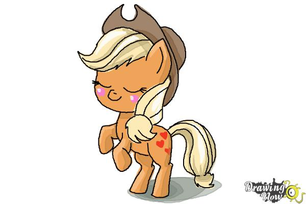 How to Draw Chibi Apple Jack from My Little Pony Friendship Is Magic - Step 11