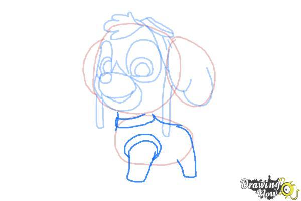 How to draw Skye from PAW Patrol - Step 7