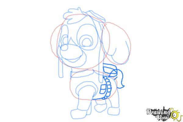 How to draw Skye from PAW Patrol - Step 9