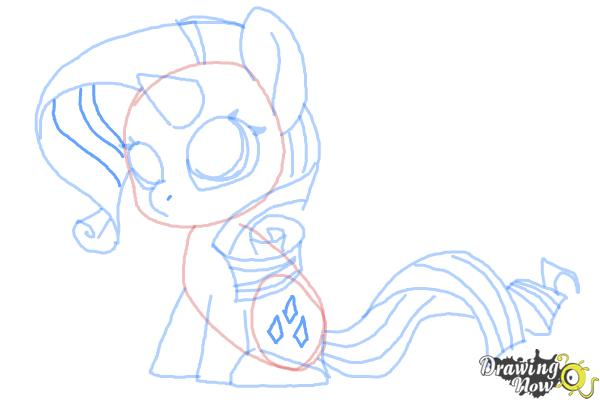 How to Draw Chibi Rarity from My Little Pony Friendship is Magic - Step 9