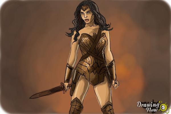 How to Draw Gal Gadot As Wonder Woman from Batman Vs Superman - Step 10