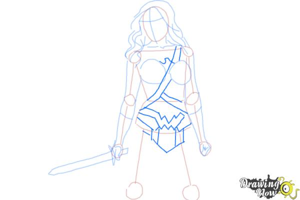 How to Draw Gal Gadot As Wonder Woman from Batman Vs Superman - Step 6