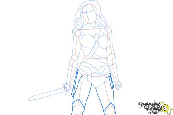 How to Draw Gal Gadot As Wonder Woman from Batman Vs Superman - Step 7