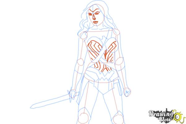 How to Draw Gal Gadot As Wonder Woman from Batman Vs Superman - Step 8