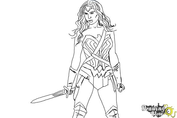How to Draw Gal Gadot As Wonder Woman from Batman Vs Superman - Step 9