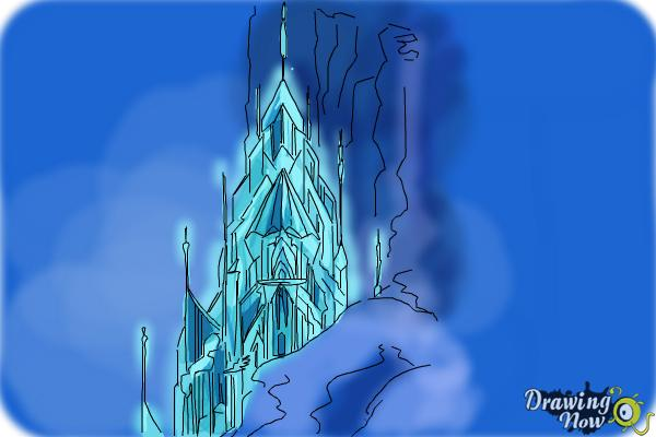How to Draw Elsa's Ice Palace, Ice Castle - Step 10