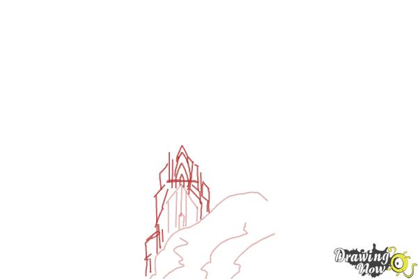 How to Draw Elsa's Ice Palace, Ice Castle - Step 3