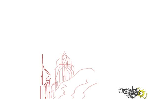 How to Draw Elsa's Ice Palace, Ice Castle - Step 4