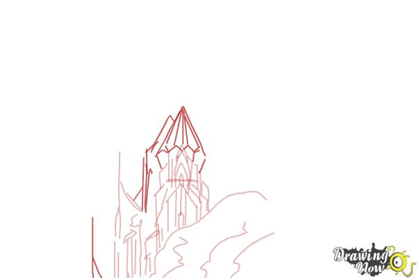 How to Draw Elsa's Ice Palace, Ice Castle - Step 5