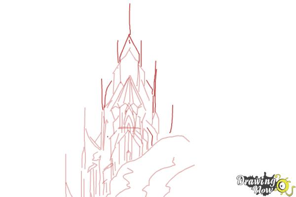 How to Draw Elsa's Ice Palace, Ice Castle - Step 7