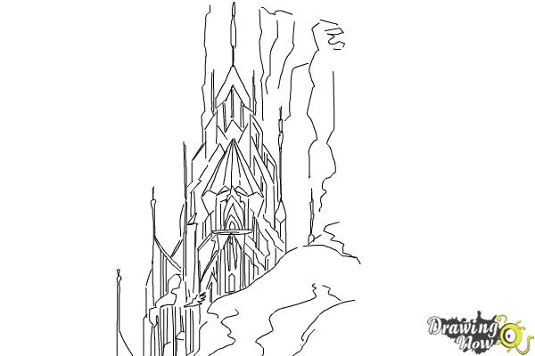 Frozen Coloring Pages Elsa Ice Castle : How to draw elsa s ice palace castle drawingnow