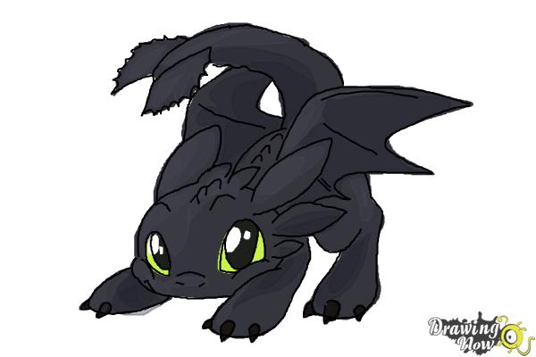 How to Draw Chibi Toothless - Step 11