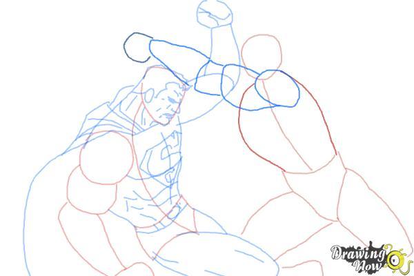 How to Draw Batman VS Superman - Step 10