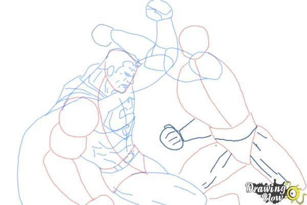 How to Draw Batman VS Superman - Step 11