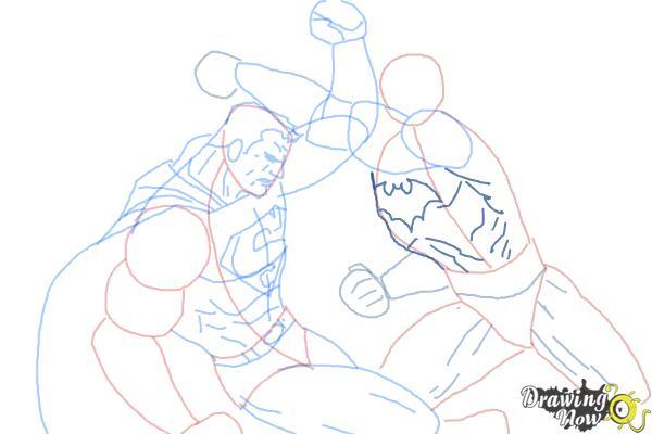 How to Draw Batman VS Superman - Step 12