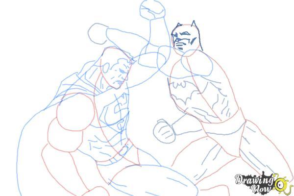 How to Draw Batman VS Superman - Step 13