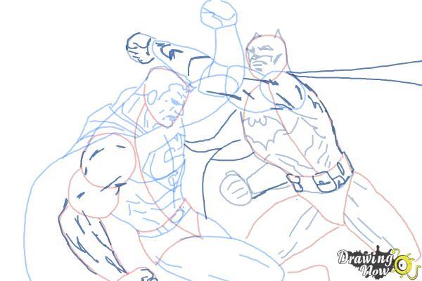 How to Draw Batman VS Superman - Step 14