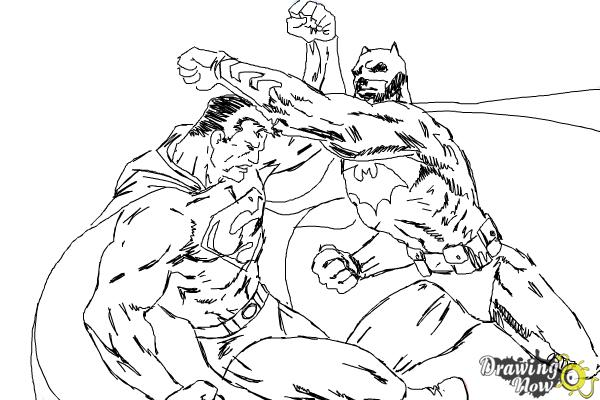 How to Draw Batman VS Superman - Step 15