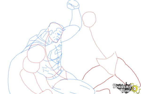 How to Draw Batman VS Superman - Step 9