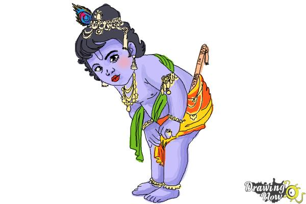 How to Draw Baby Krishna Iskcon - Step 12