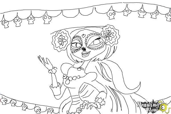 Día Del Libro Book Coloring Pages: How To Draw La Muerte From The Book Of Life