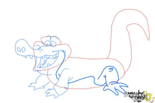 How to Draw Tick-Tock The Crocodile, Disney Villain - Step 7