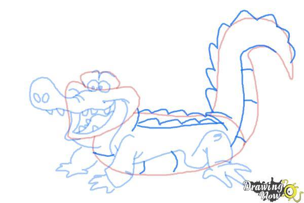 How to Draw Tick-Tock The Crocodile, Disney Villain - Step 8