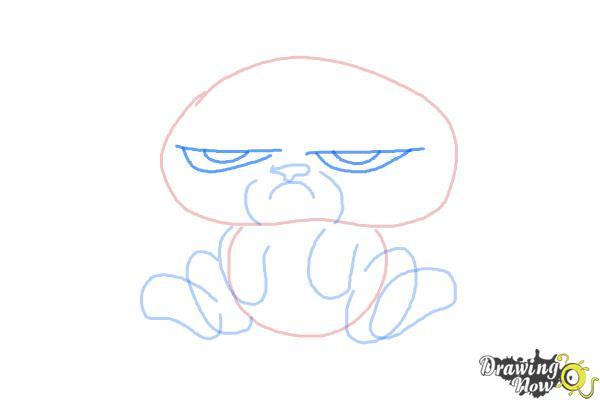 How to Draw Chibi Grumpy Cat - Step 5