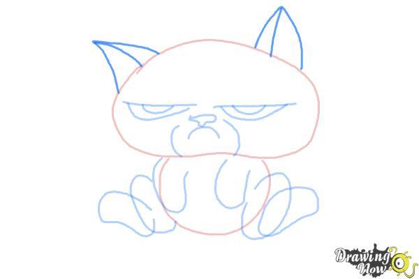 How to Draw Chibi Grumpy Cat - Step 6