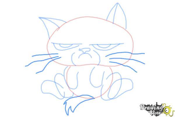 How to Draw Chibi Grumpy Cat - Step 7