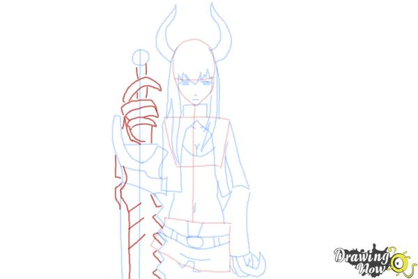 How to Draw Black★Gold Saw from Black★Rock Shooter - Step 10