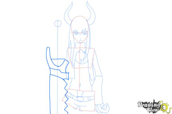 How to Draw Black★Gold Saw from Black★Rock Shooter - Step 9