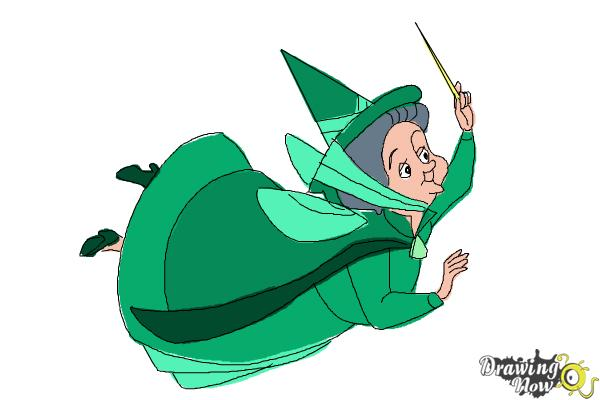 How to Draw Fauna from Sleeping Beauty - Step 10