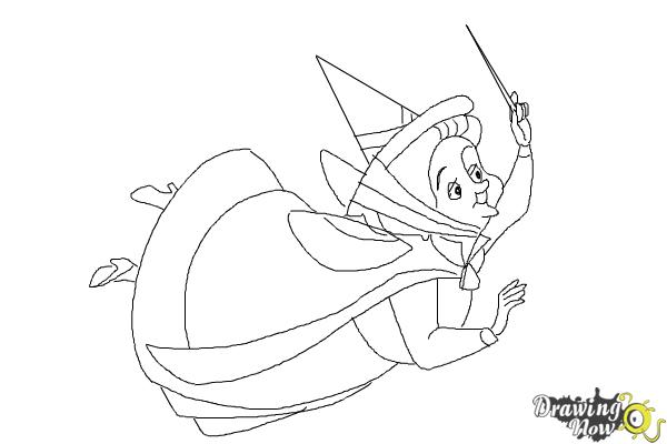 How to Draw Fauna from Sleeping Beauty - Step 9